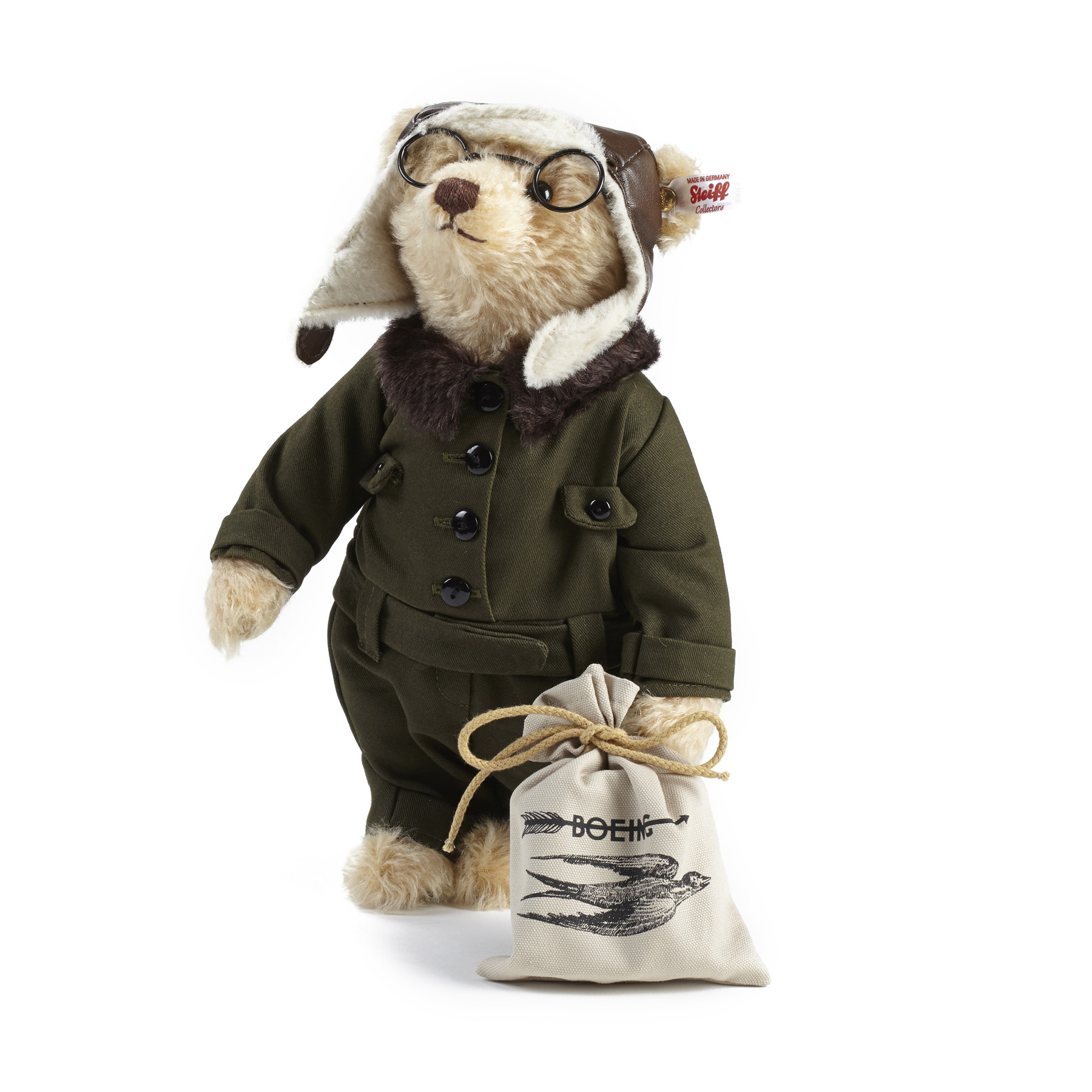 German toymaker Steiff, inventors of the teddy bear, worked with Boeing Archives to create William E. Bear, a stuffed bear designed to honor company founder William E. Boeing, who donned aviator gear to make the first international air mail flight.