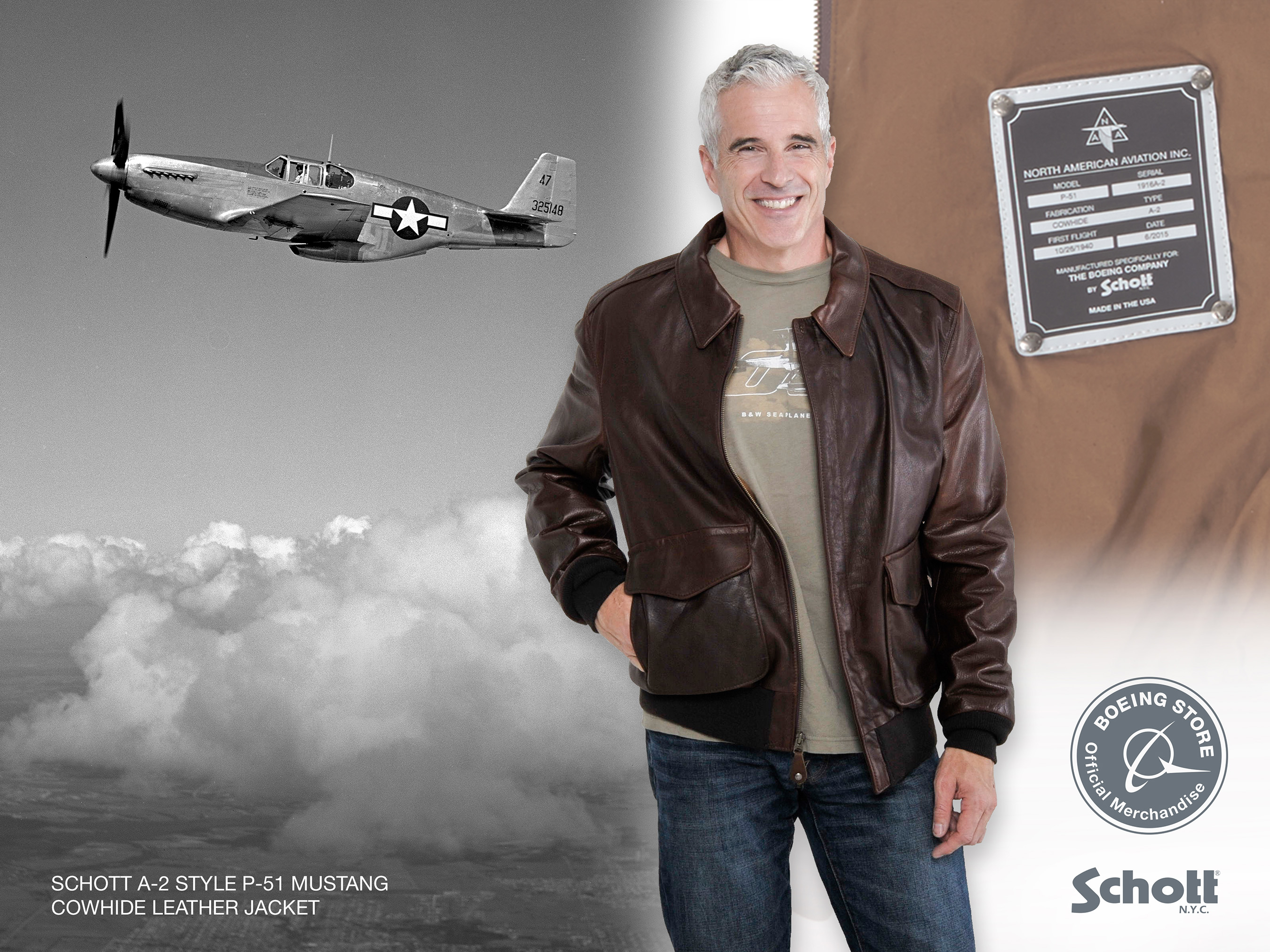 Schott A-2 Style P-51 Mustang Cowhide Leather Jacket Caption: This version of its classic A-2 leather aviator jacket, designed especially for the Boeing centennial, salutes a Boeing heritage legend, the North American P-51 Mustang fighter.