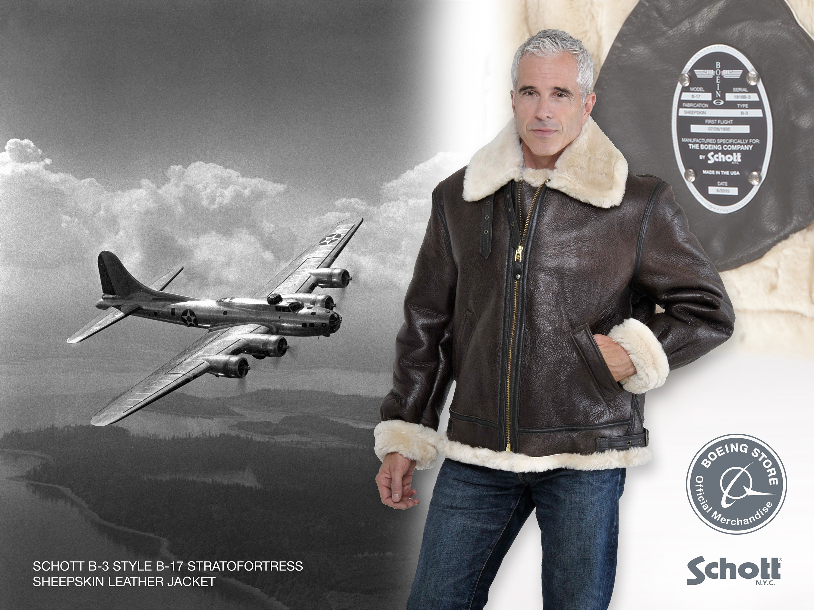 "The B-3 flight jacket was issued to U.S. Army Air Corps bomber flight crews during WWII. The commemorative version features salute a Boeing heritage legend, the B-17 Flying Fortress bomber, with a replica ""First Flight"" data plate riveted onto the leather pocket bag and sewn-in cloth patch commemorating the B-17 and Boeing."
