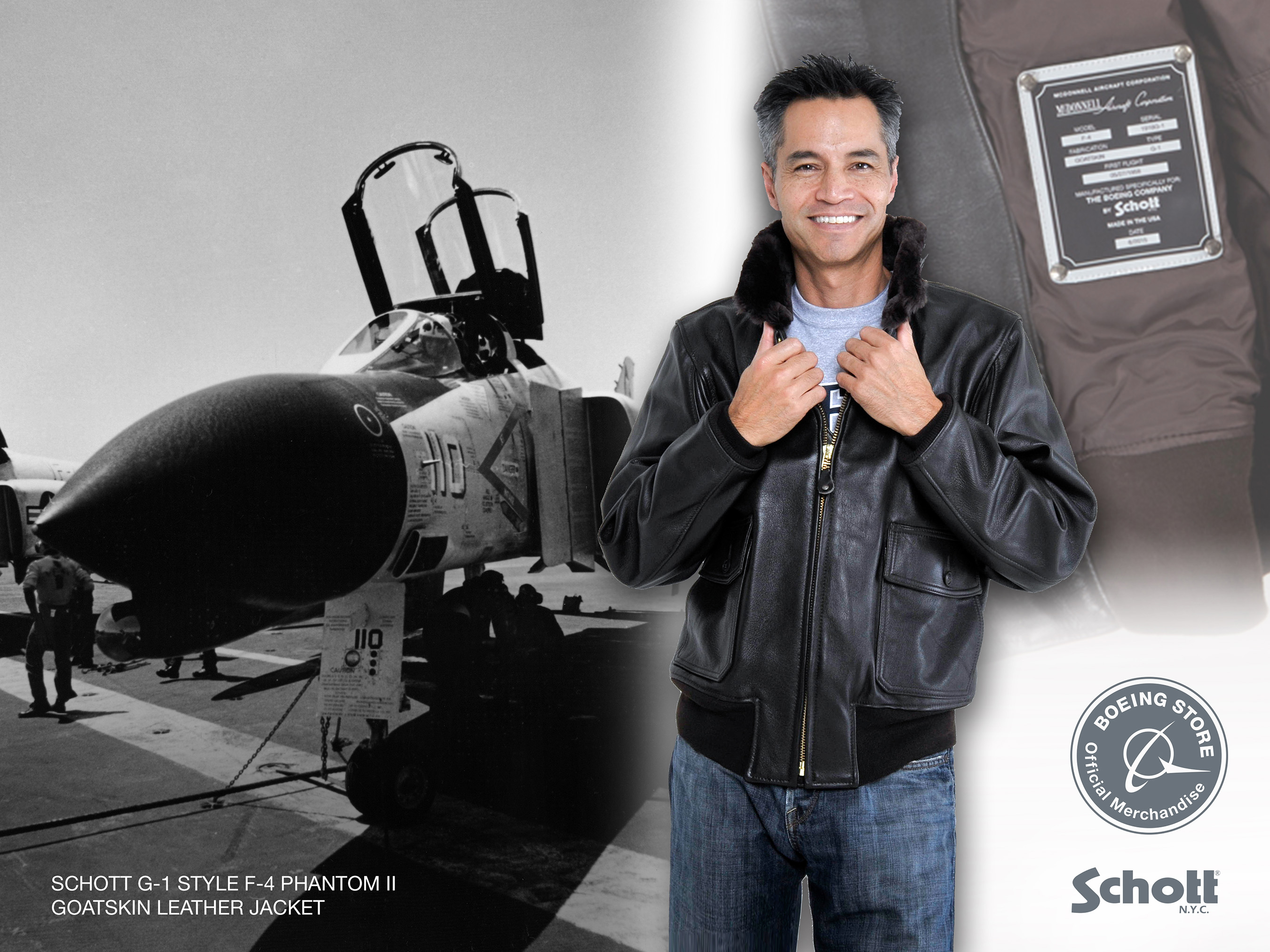 "Apparel manufacturer Schott NYC created this version of its classic G-1 leather aviator jacket especially for the Boeing centennial. Custom features salute a Boeing heritage legend, the McDonnell F-4 Phantom II fighter, with a replica ""First Flight"" data plate riveted onto the lining and sewn-in cloth patch commemorating the F-4 and the Boeing centennial."