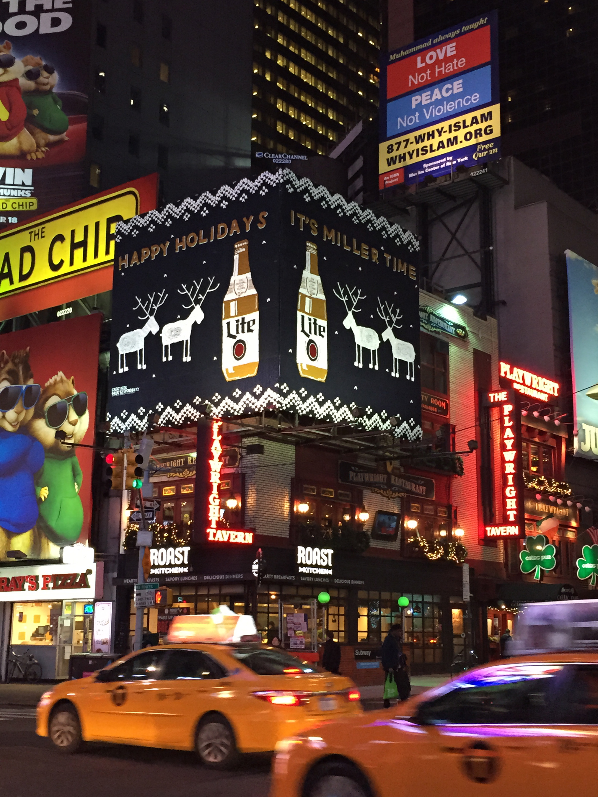Miller Lite Knitted OOH, created by Brooklyn-based artist London Kaye, shines above 49th St. and 7th Ave in New York.
