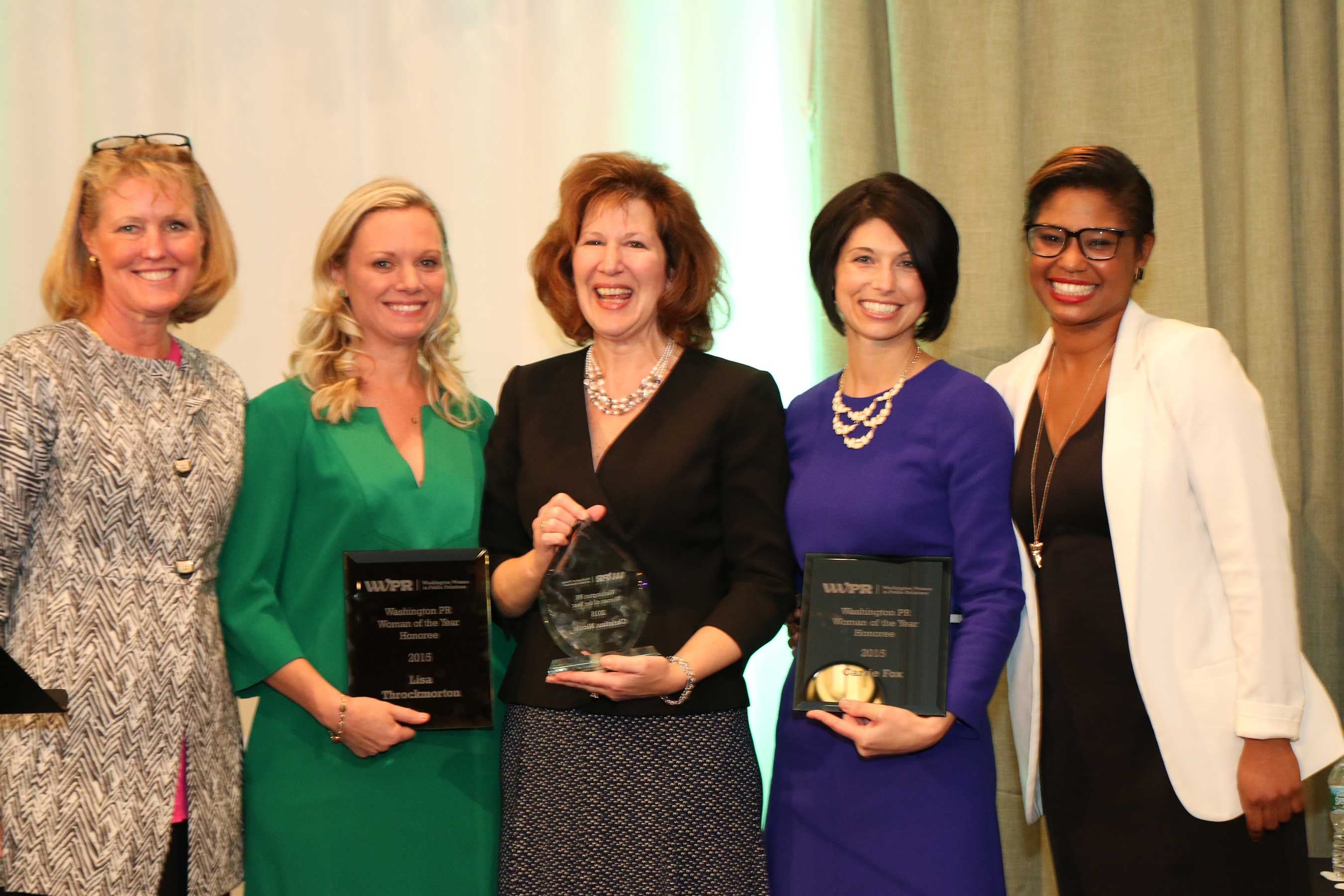 Our 2015 Washington PR Woman of the Year Finalists: Carrie Fox, Christina Nicols, and Lisa Throckmorton; alongside WWPR Woman of the Year Co-Chairs: Mary LoJacono and Danielle Veira.
