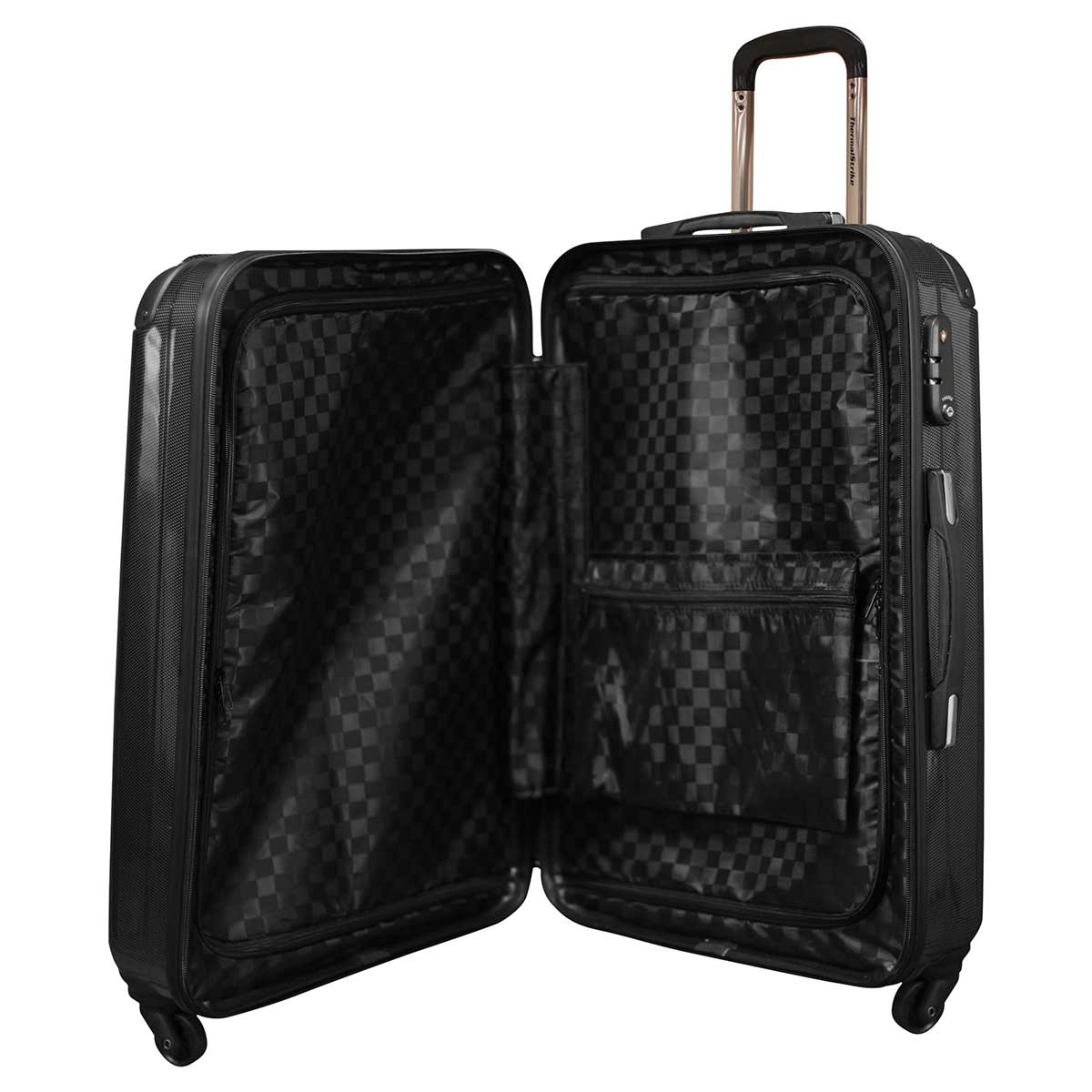 ThermalStrike luggage features large, interior zippered compartments as well as an interior pocket for easy ...