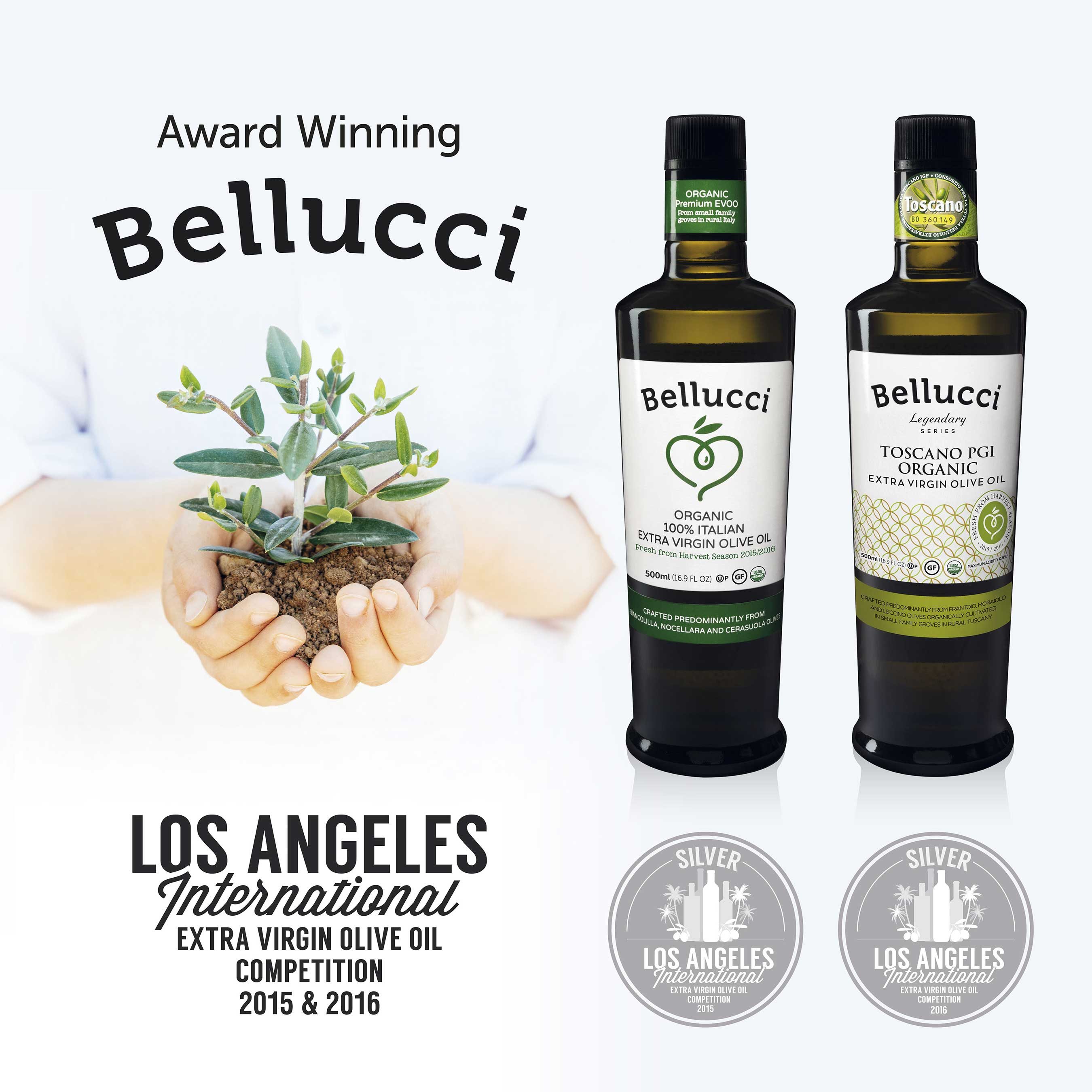 Bellucci wins the Silver Medal from the LAIOOC two years in a row with organic EVOO.