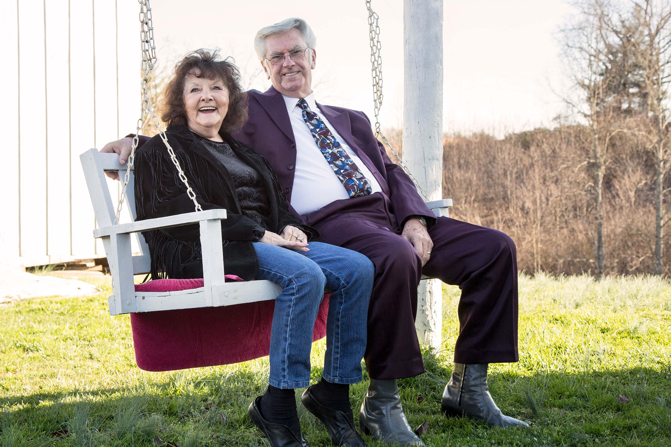 The Allens spend some time together on their outdoor swing.