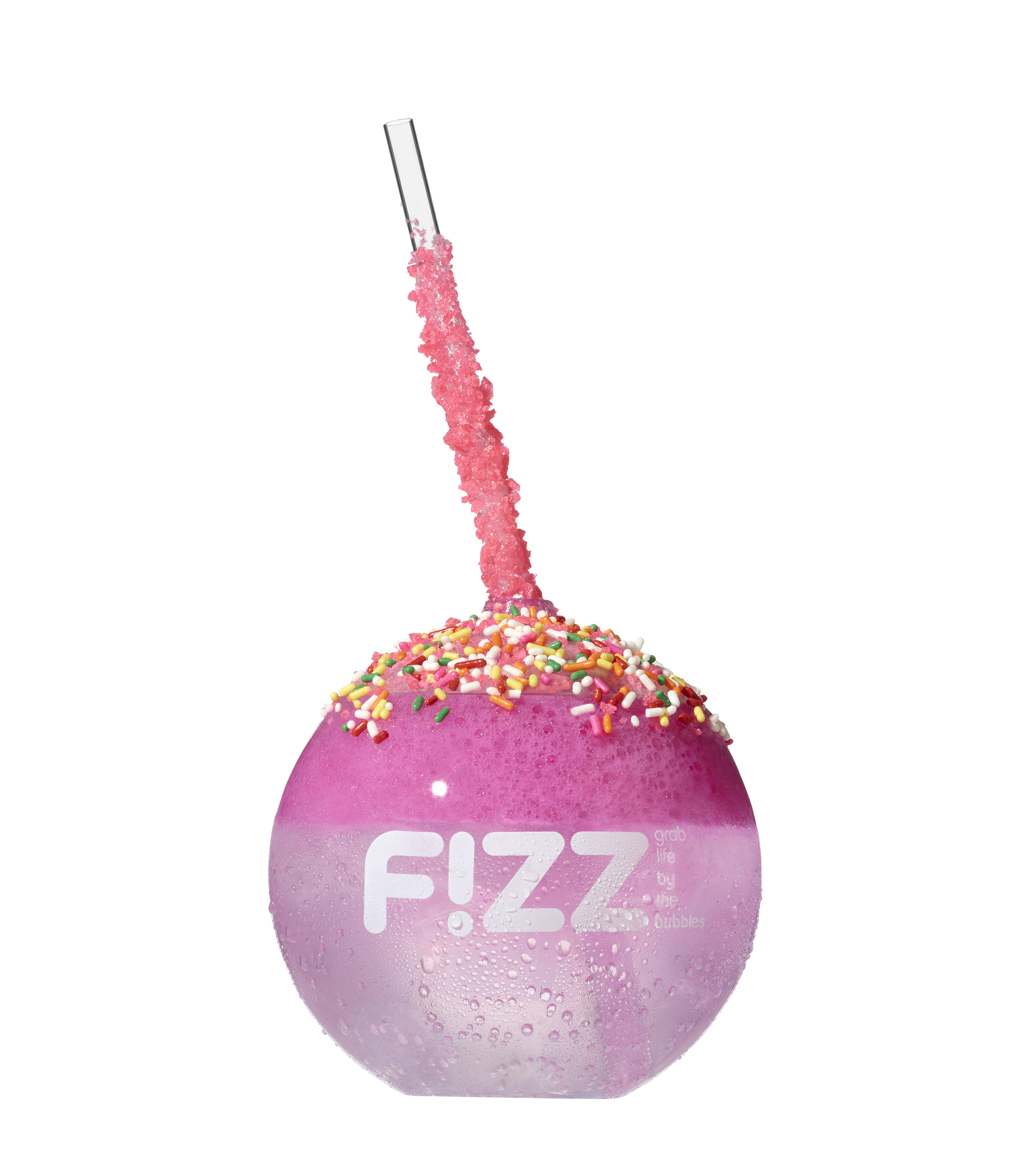 """Onside Cake"" combines Sierra Mist or Diet Sierra Mist, vanilla & cake batter flavor shot, vanilla foam, rainbow sprinkles and strawberry pop rocks #discoverfizz"