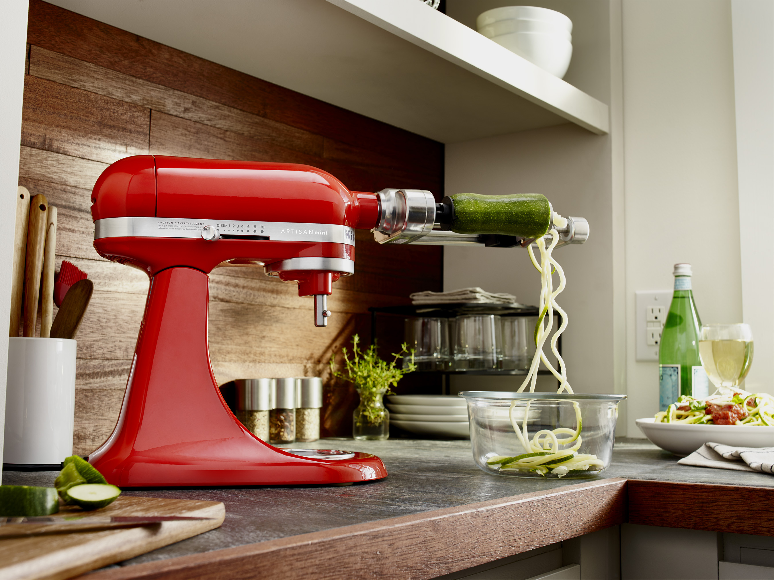The new Artisan® Mini Stand Mixer accommodates all optional hub-based attachments available for larger models.
