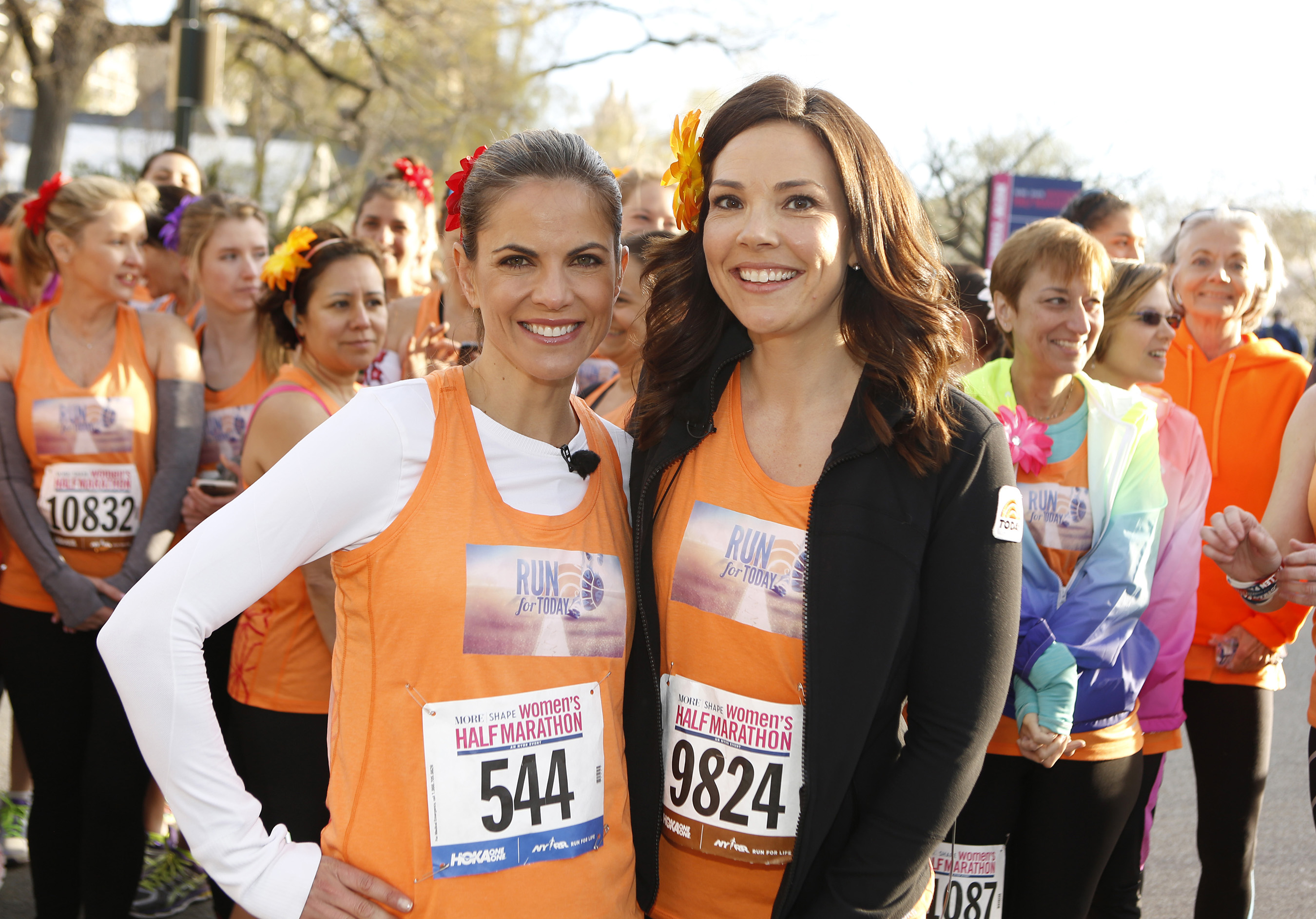 Natalie Morales of NBC's TODAY, and Erica Hill of NBC News at the 12th Annual MORE/SHAPE Women's Half-Marathon in New York's Central Park on April 19, 2015.