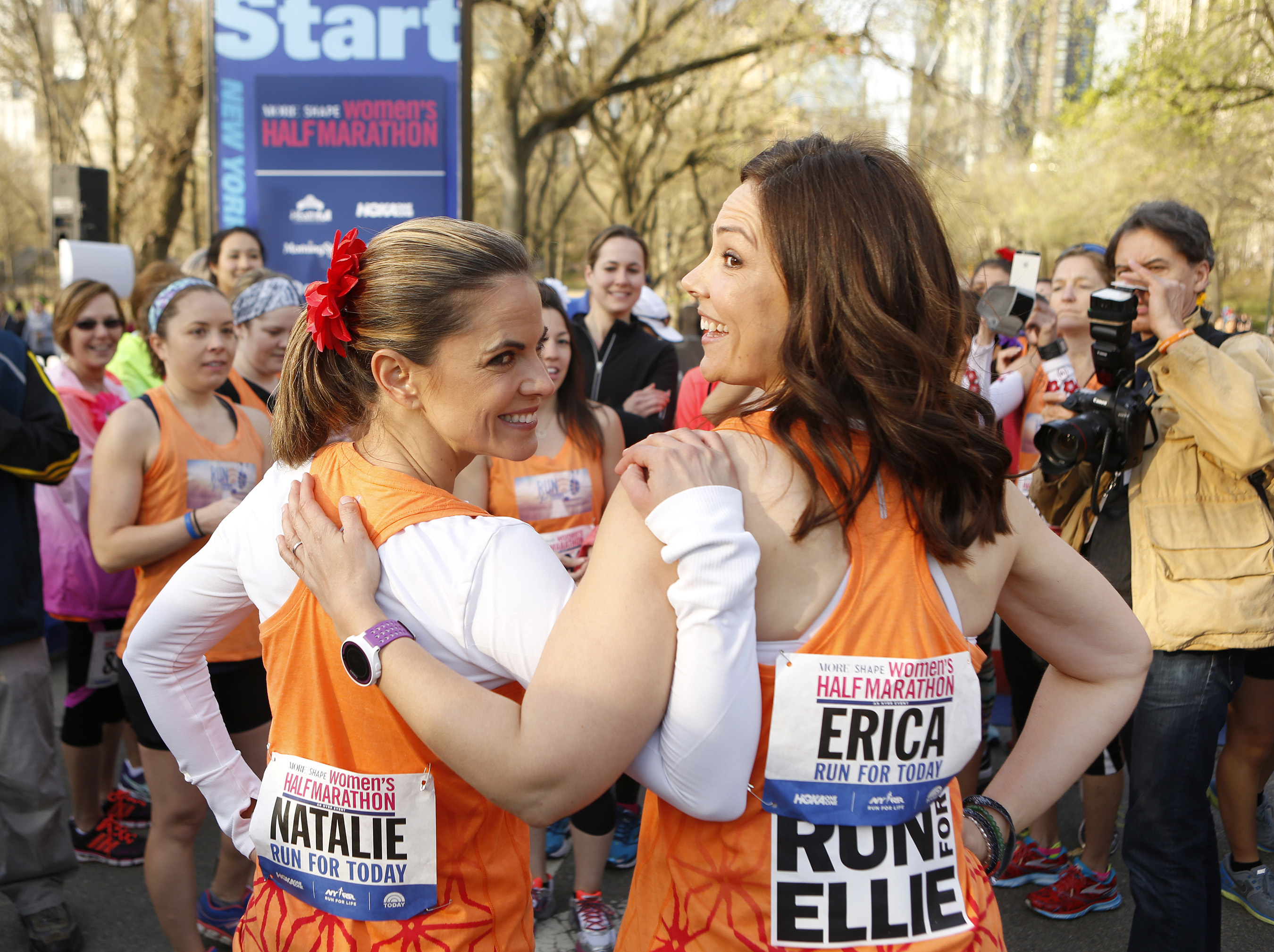 """Natalie Morales of NBC's TODAY, and Erica Hill of NBC News support """"Run for TODAY"""" at the 12th Annual MORE/SHAPE Women's Half-Marathon in New York's Central Park on April 19, 2015."""