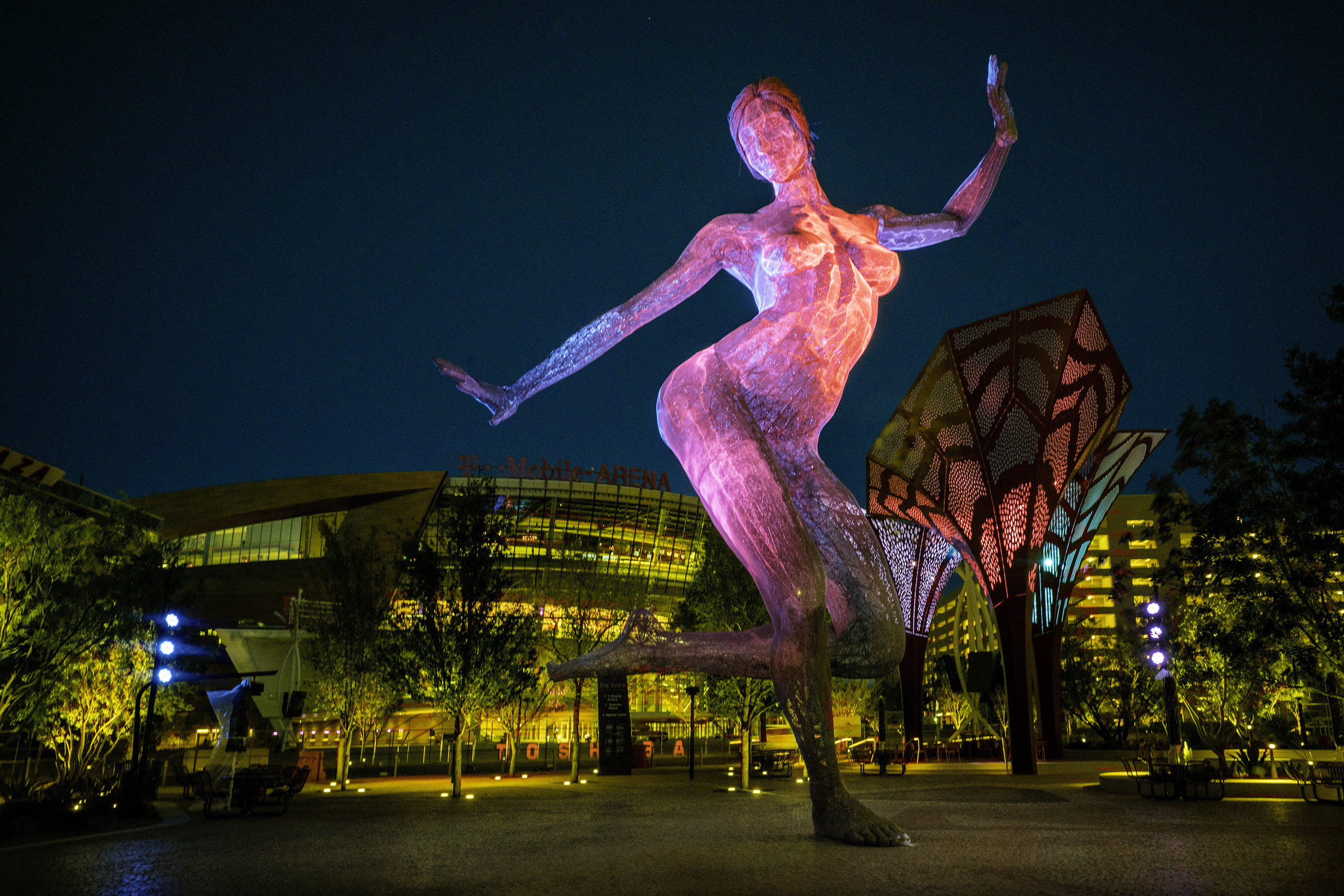 Bliss Dance, Marco Cochrane's 40-foot-tall sculpture of a dancing woman, carries a message of female empowerment & strength. She debuted at Burning Man & now has a permanent home in the Nevada desert.