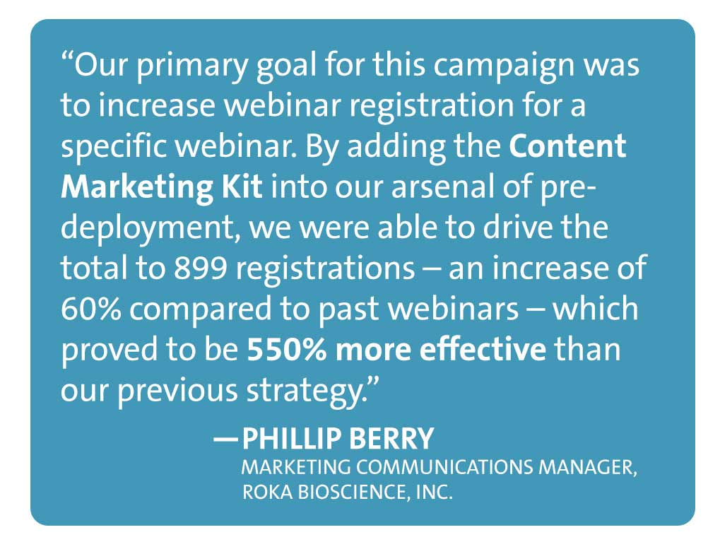 Content Marketing Kit proved a successful tactic for Roka Bioscience, who increased webinar registrants 60% using an embedded lead generation form on the branded landing page.