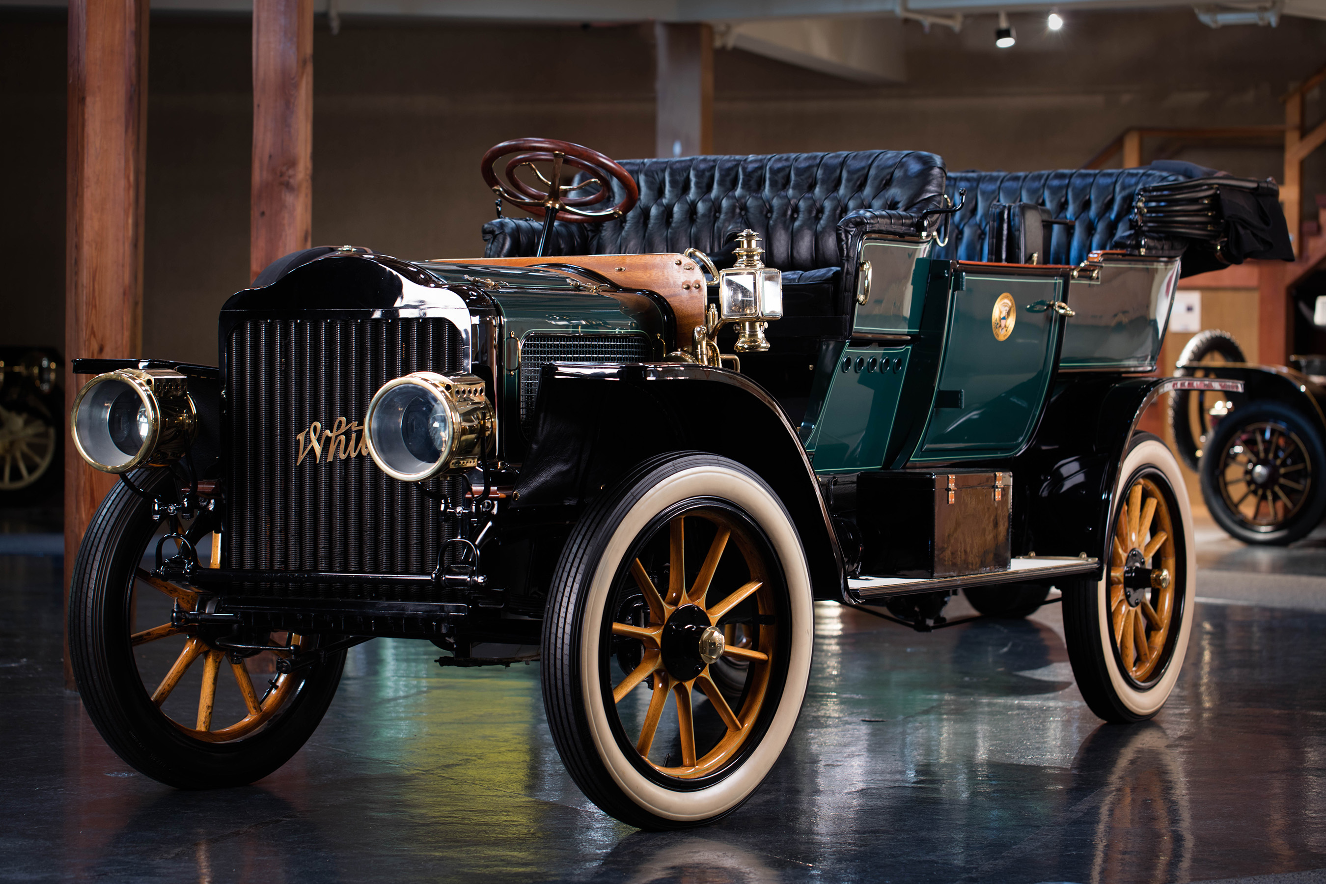 """The 1909 White Model """"M"""" Steam Car used by President Taft has been on permanent public display at the Heritage Museums & Gardens in Sandwich, MA since 1970 and was fully restored in 1969. (Photo courtesy of the Historic Vehicle Association/Casey Maxon-March 2016)"""