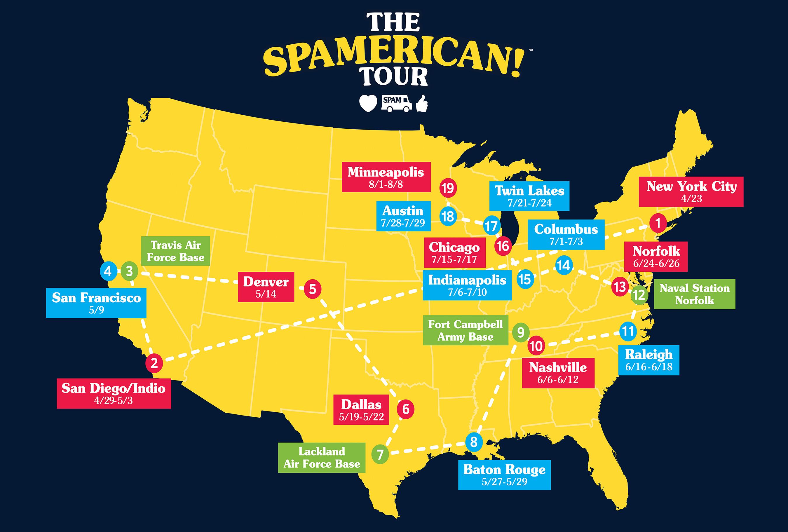 Spamamerican Tour Map