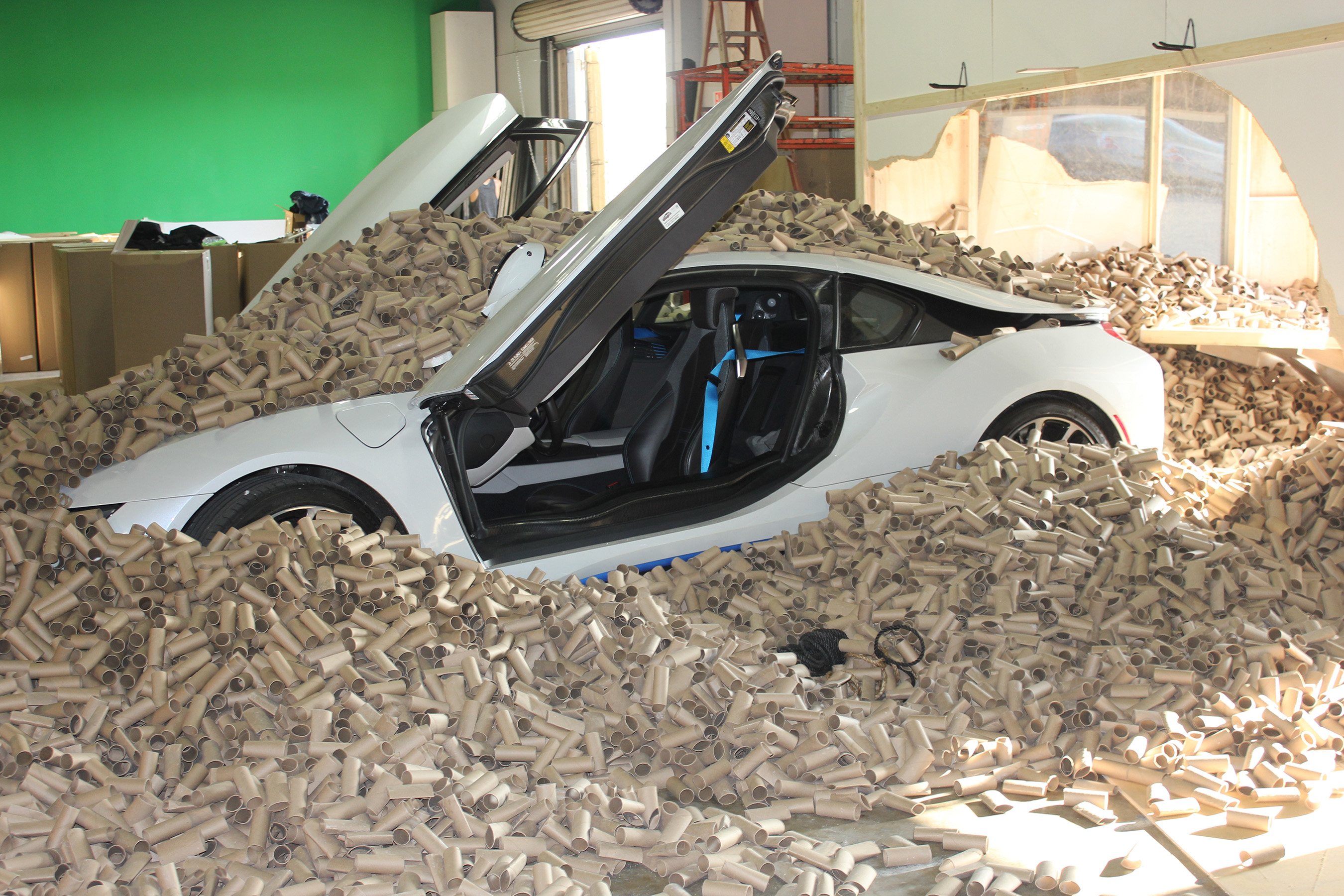In this stunt devised by Scott Tube Free and YouTube stuntman Roman Atwood, this car crashes through 66,000 toilet paper tubes – the amount the U.S. uses in just over two minutes.