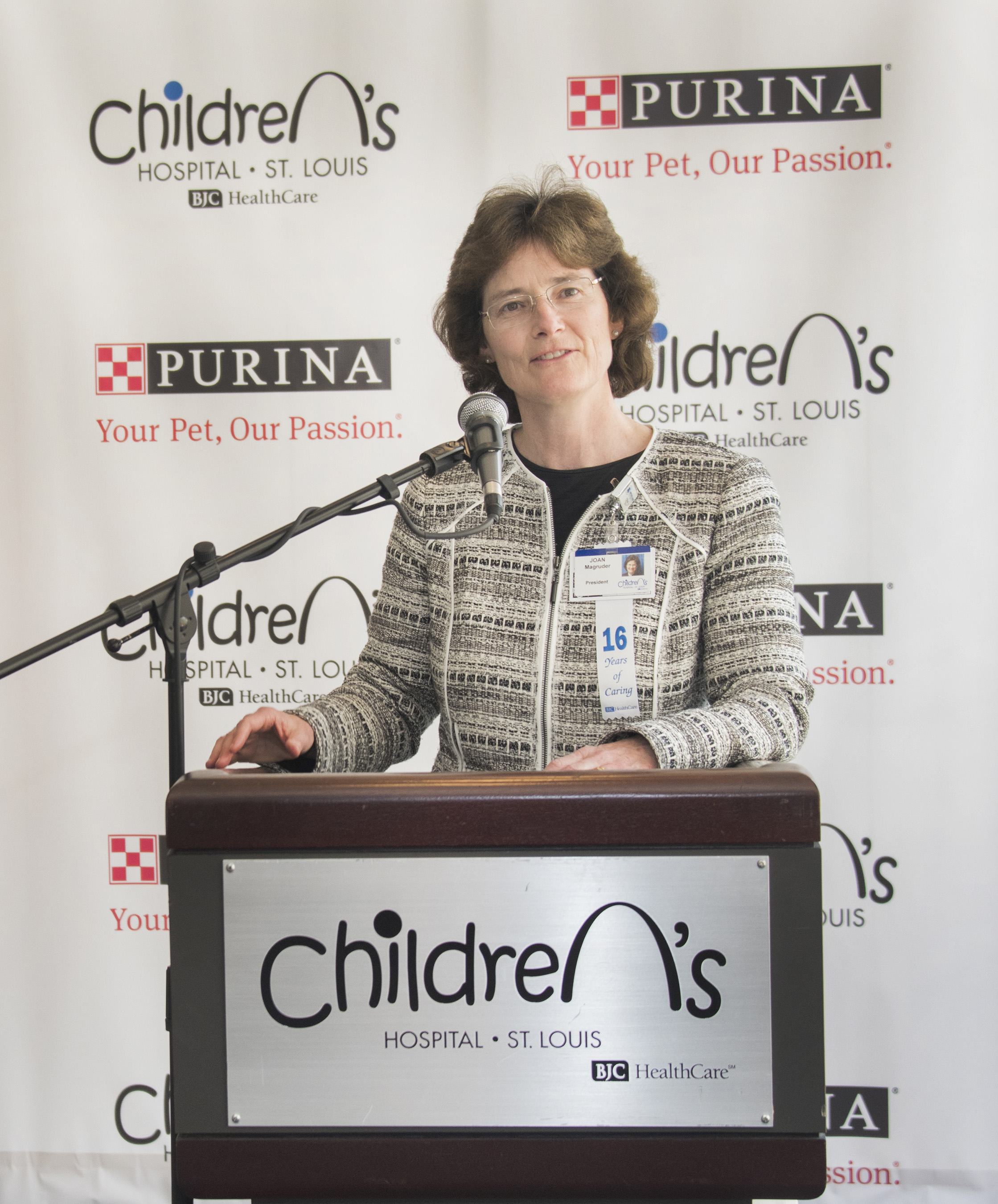 St. Louis Children's Hospital President Joan Magruder discusses the hospital's shared belief with Purina that pets make our lives better and can aid patients' healing process.