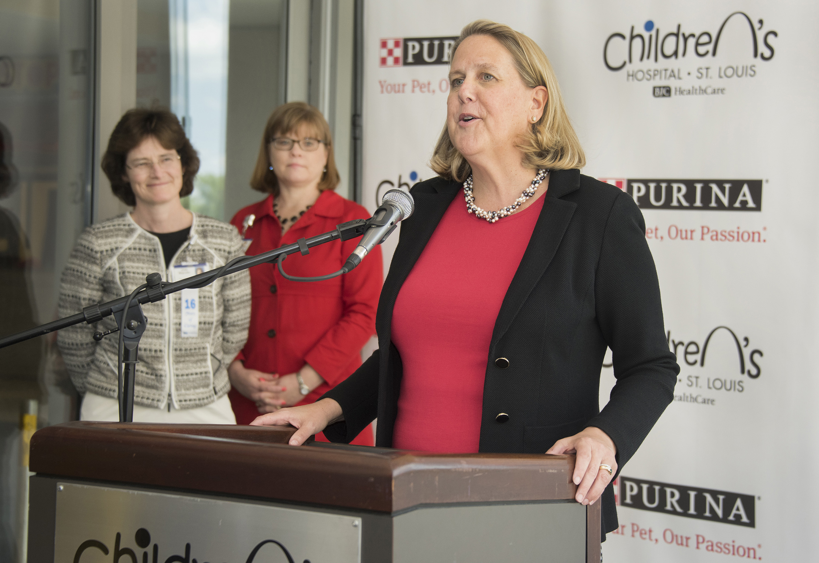 Purina President Nina Leigh Krueger discusses the partnership between Purina and the St. Louis Children's Hospital to create the fourth pet center at a pediatrics hospital in the world.