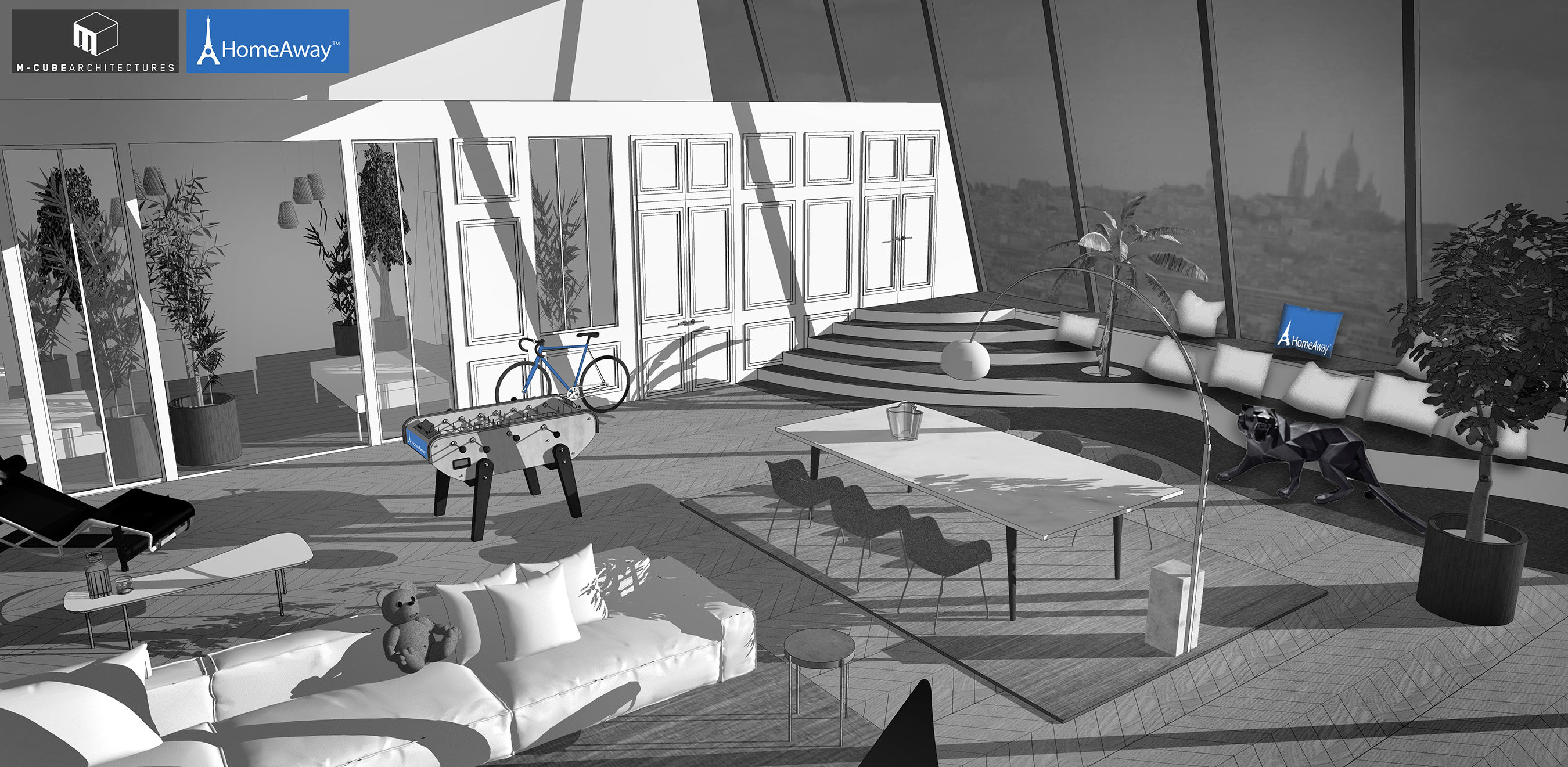 An early design drawing of HomeAway's Eiffel Tower apartment. Courtesy of HomeAway.