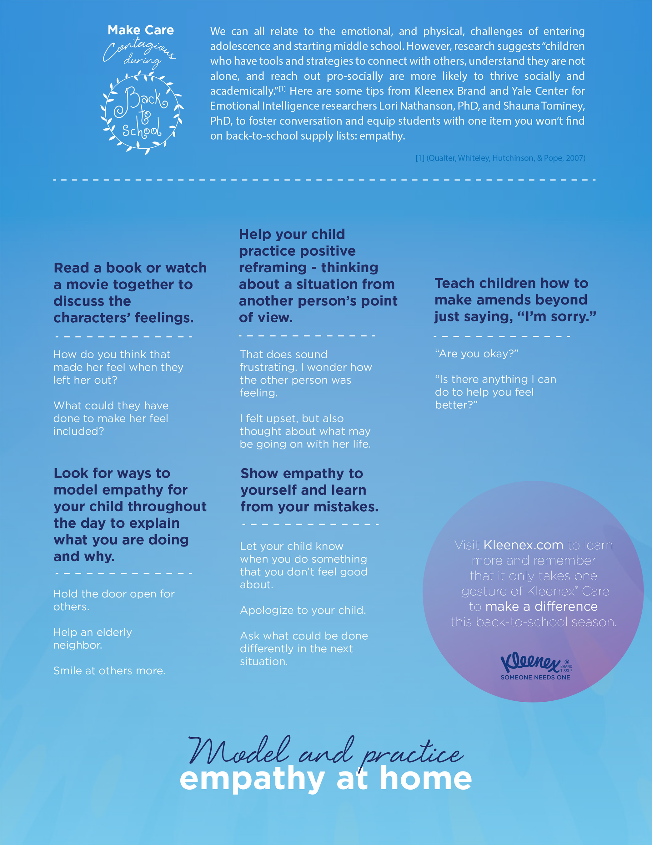 Kleenex® brand and Yale researchers share tips to help model and practice empathy at home.