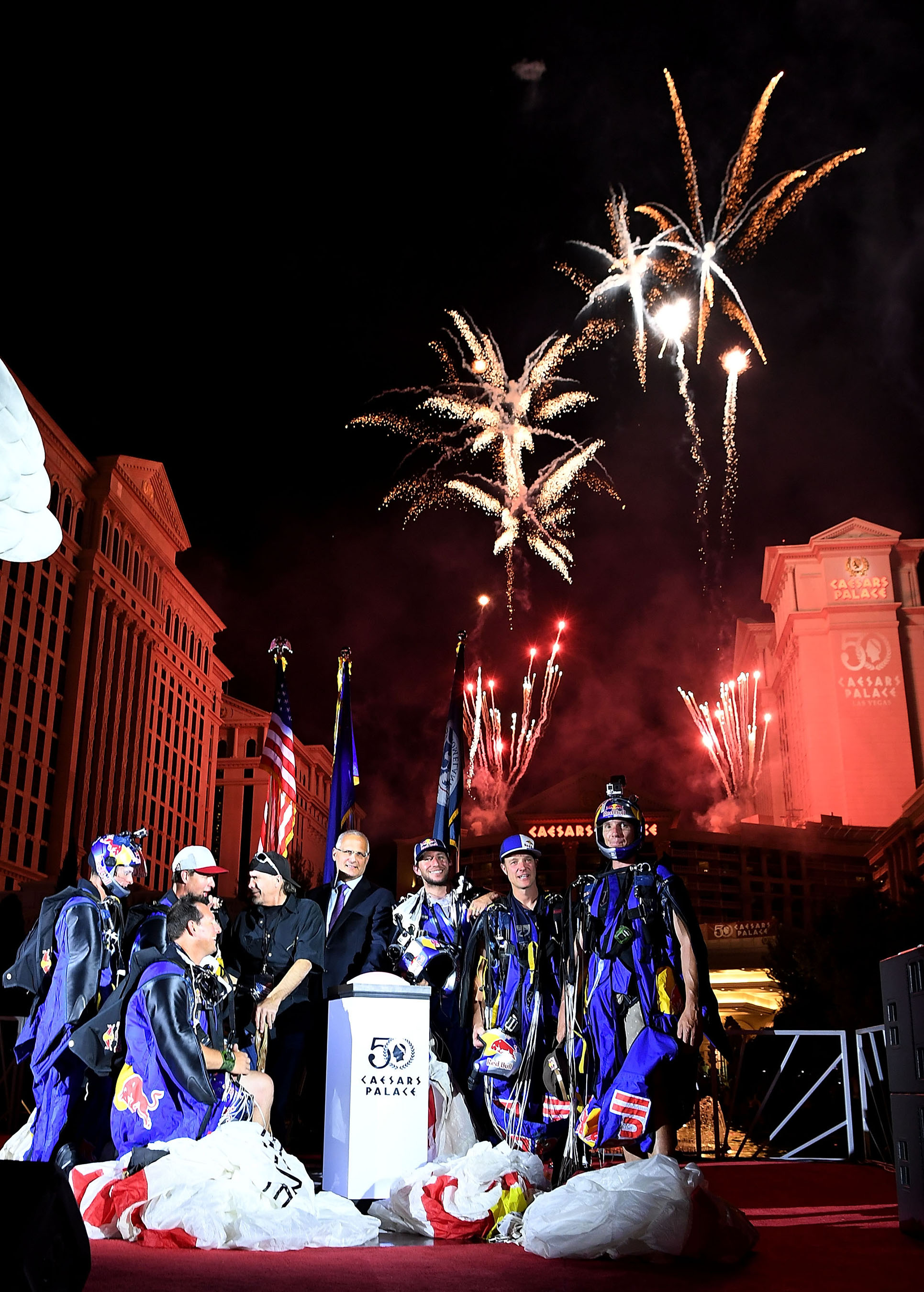 Caesars Palace executives join Robbie Knievel and Red Bull Air Force team to launch the fireworks extravaganza. Photo Credit: Denise Truscello/Getty Images
