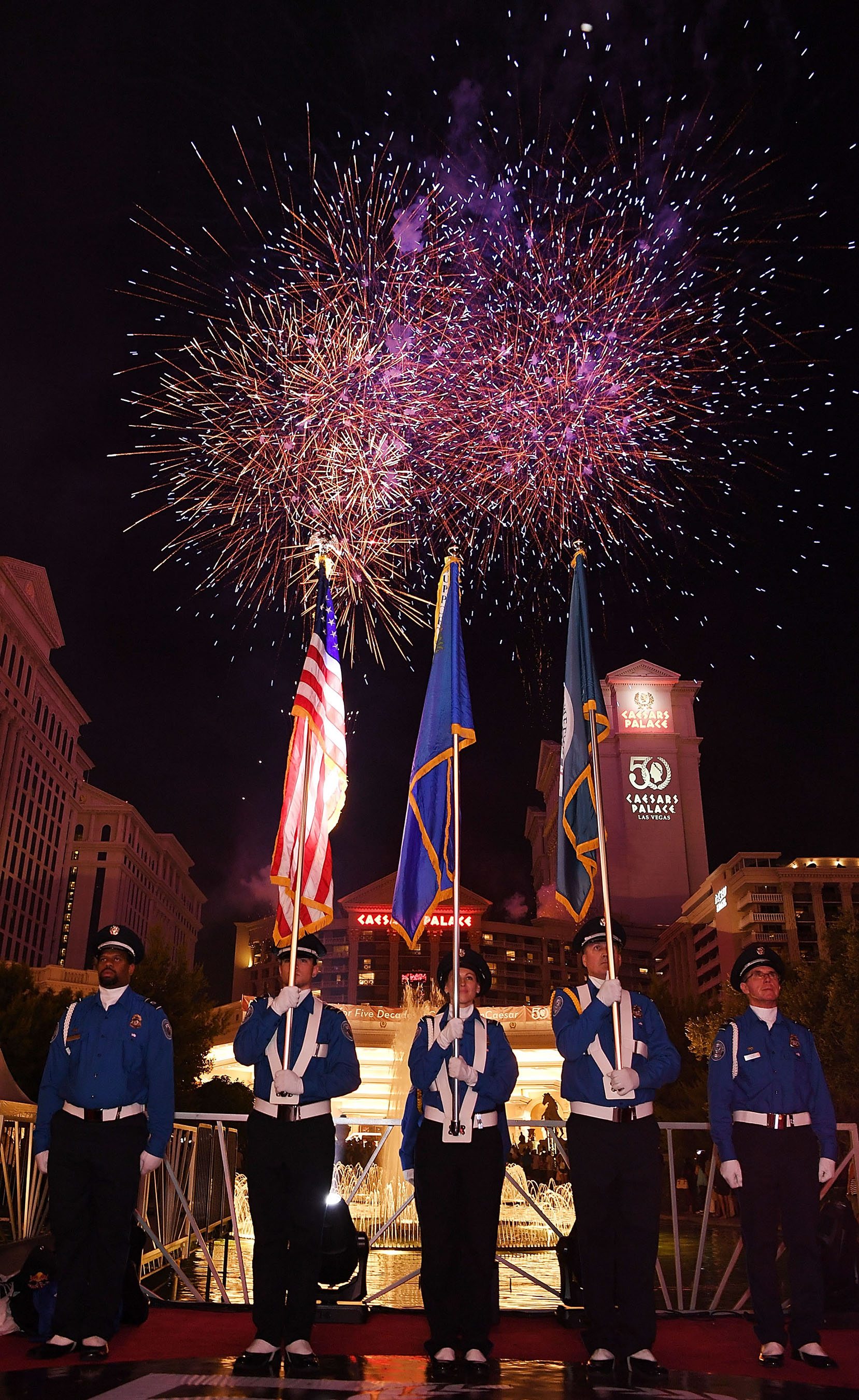 The 50th Anniversary celebration of Caesars Palace continues with an Independence Day Weekend fireworks extravaganza. Photo Credit: Denise Truscello/Getty Images