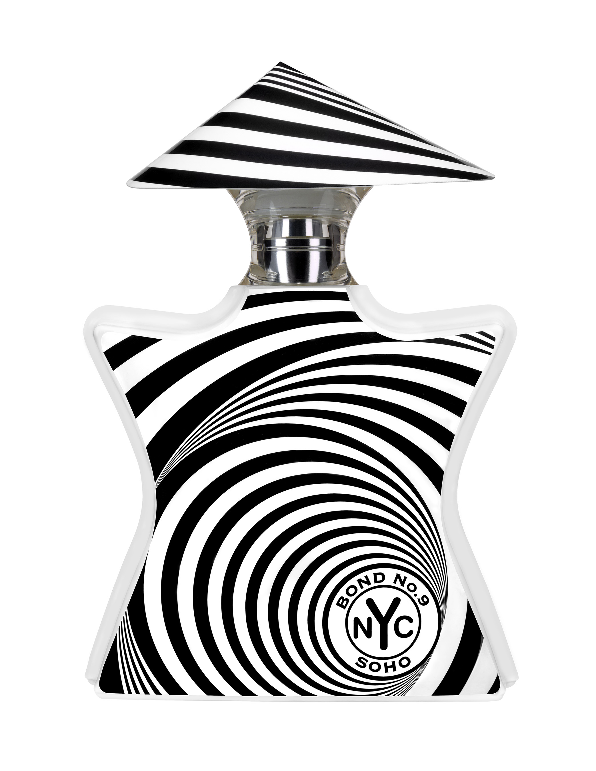 Soho bottle's mesmerizing black and white whirlpool swirls are a high-energy visualization of the scent inside.