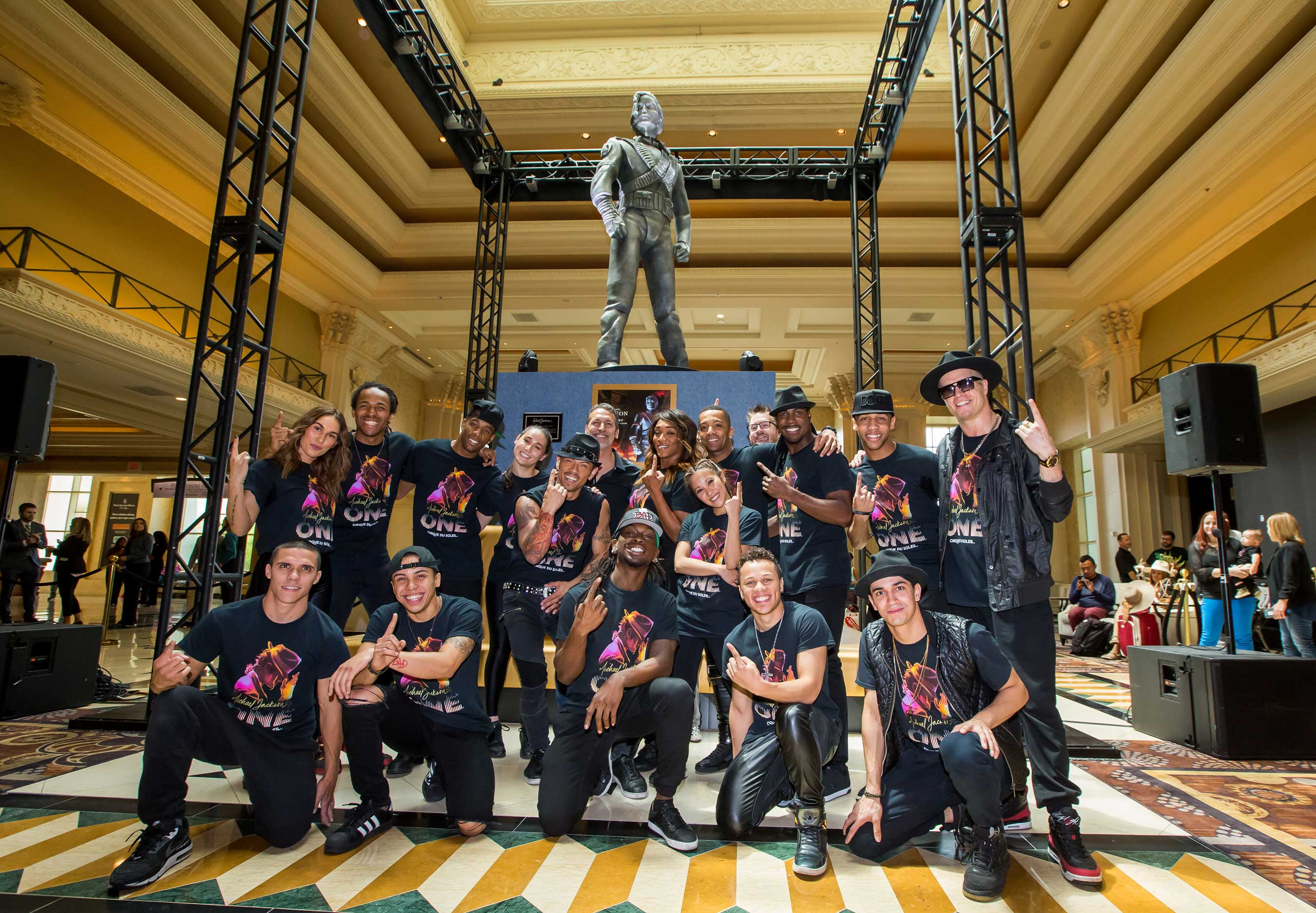 MJ ONE Cast with Iconic Michael Jackson HIStory Statue