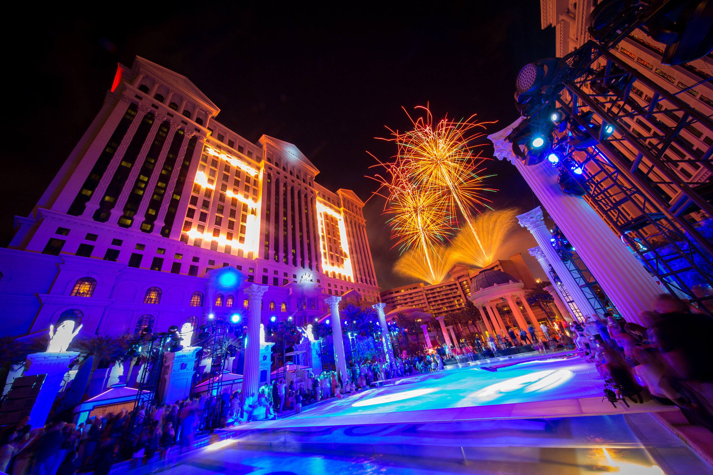 Caesars Palace Celebrates 50th Birthday with Pool Party Hosted by Gordon Ramsay, Five-Tier Birthday Cake, Cocktail Competition and Fireworks Extravaganza on Friday, Aug. 5. Photo Credit: Erik Kabik