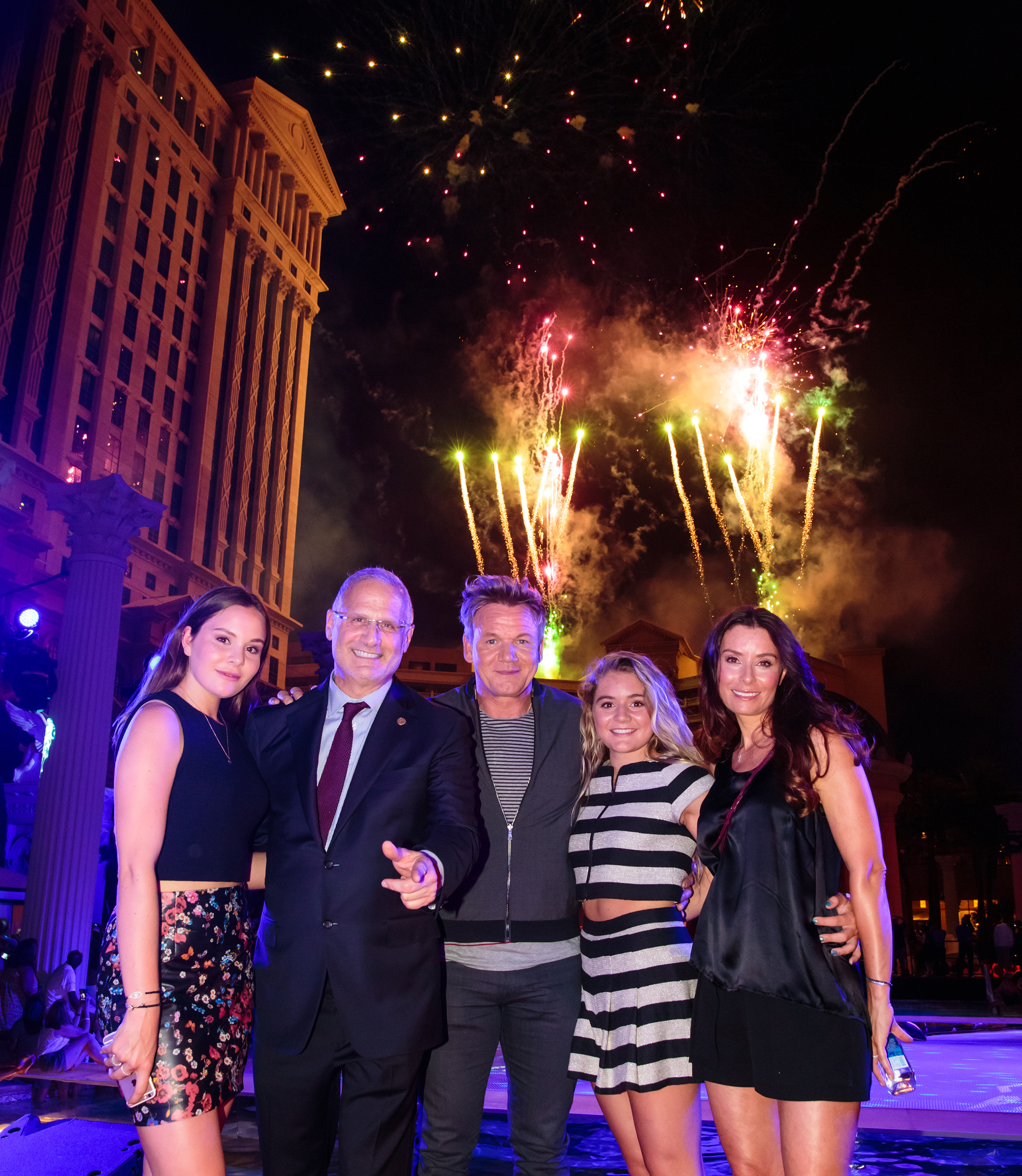 Gordon Ramsay hosts 50th anniversary pool party for Caesars Palace on Friday, Aug. 5 at Garden of the Gods Pool Oasis. (L-R): Holly Ramsay, Gary Selesner, Gordon , Matilda Ramsay and Tana Ramsay. Photo Credit: Erik Kabik