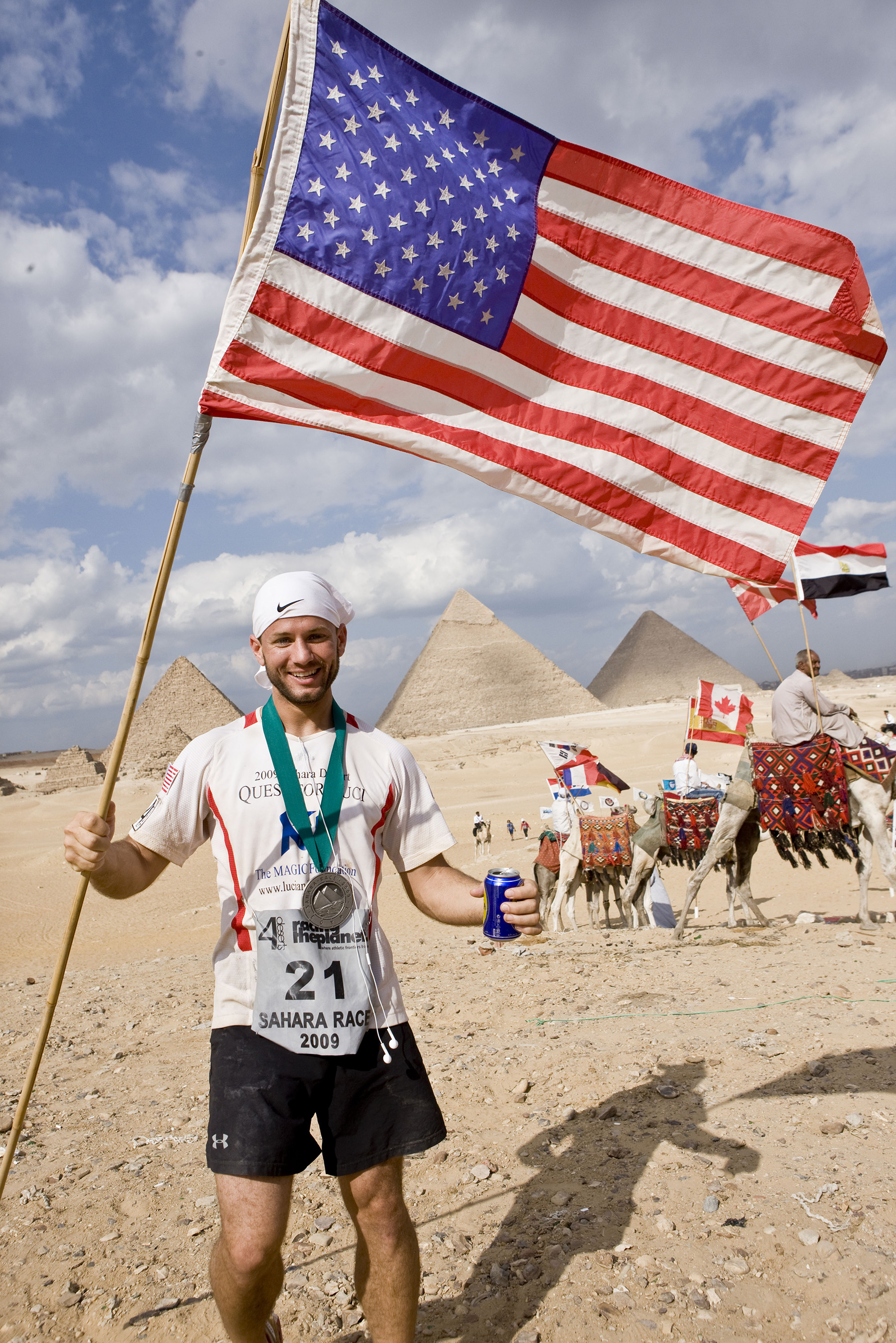 Chmiel after finishing the 6 day, 155-mile footrace across the Sahara Desert in Egypt in 2009 where he took 5th place.