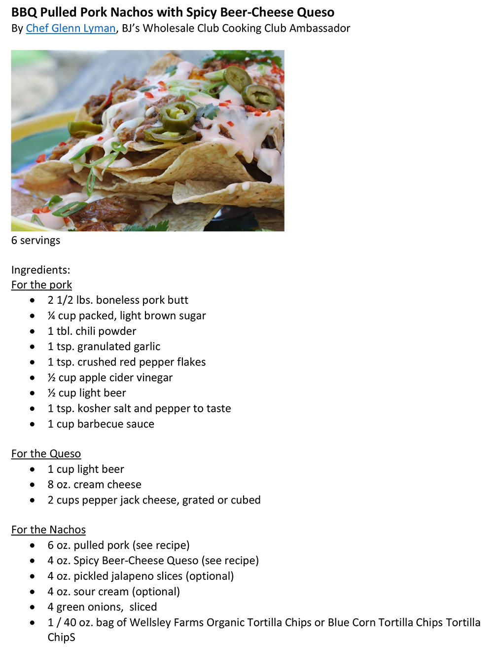 BBQ Pulled Pork Nachos with Spicy-Beer Queso Dip