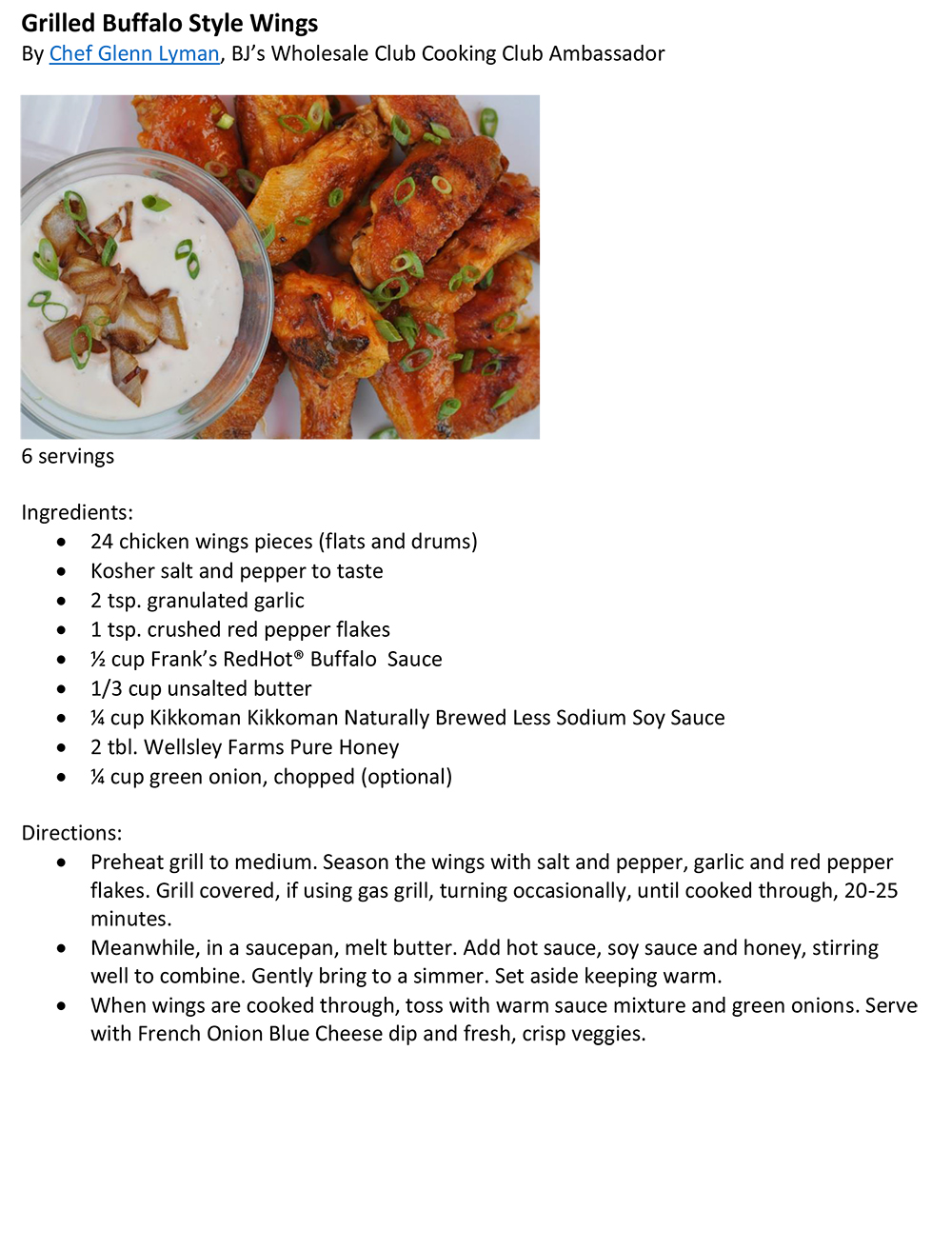Grilled Style Buffalo Wings with French Onion Dip Recipe