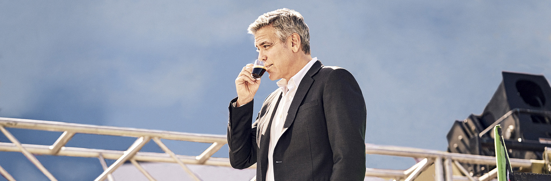 Clooney sipping Nespresso