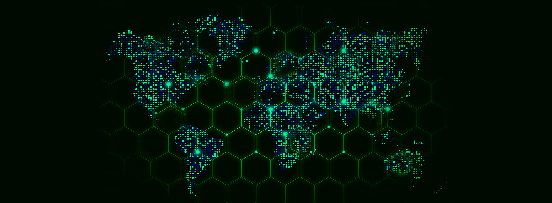 A black and green map of the world made with green glowy dots that are in place of the land mass.