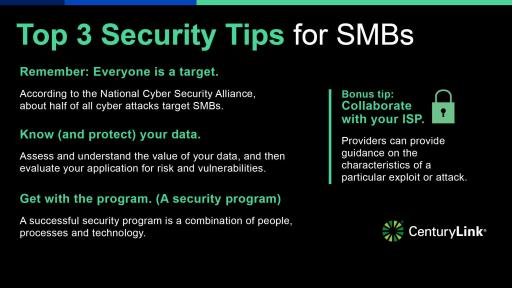 Top 3 Security Tips for SMBs infographic