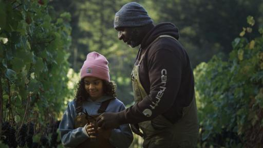 A man giving a young girl some clippers to trim grape vines.