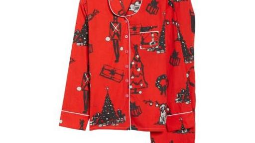 Sant and Abel red pajama shirt and pants with Christmas tree and gift pattern