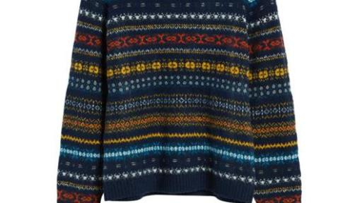 Navy blue sweater with yellow, red, white, and light blue pattern