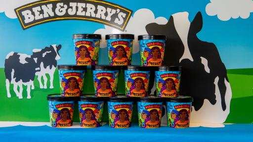 A photo op of 3 rows of pints of Ben & Jerry's stacked on top of each other.