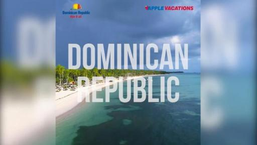Dominican Republic text with beach scenery in background