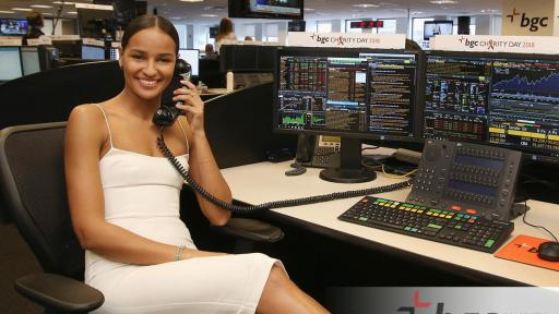 Gracie Carvalho answers phones for BGC Charity Day 2018