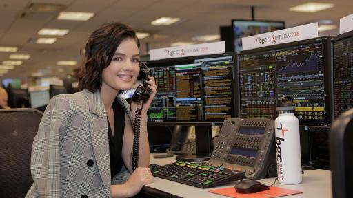 Lucy Hale answers phones for BGC charity event