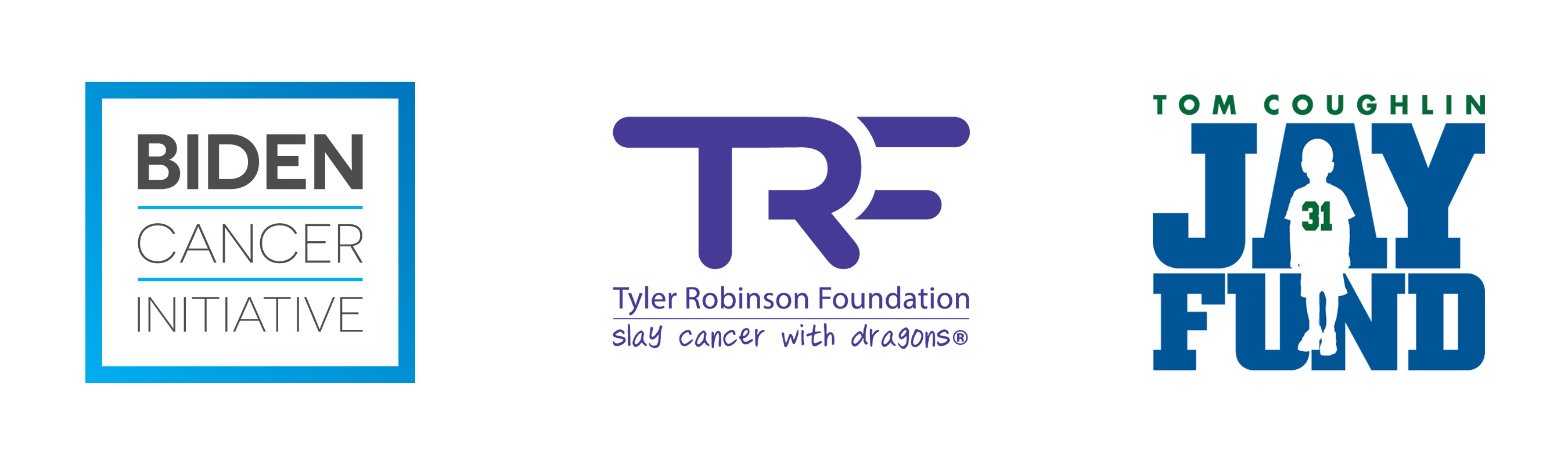Banner of Biden Cancer Initiative logo, The Tom Coughlin Jay Fund Foundation logo, and The Tyler Robinson Foundation logo