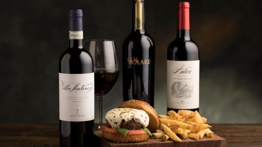 Caprese-style Wagyu Burger and Antinori Wines