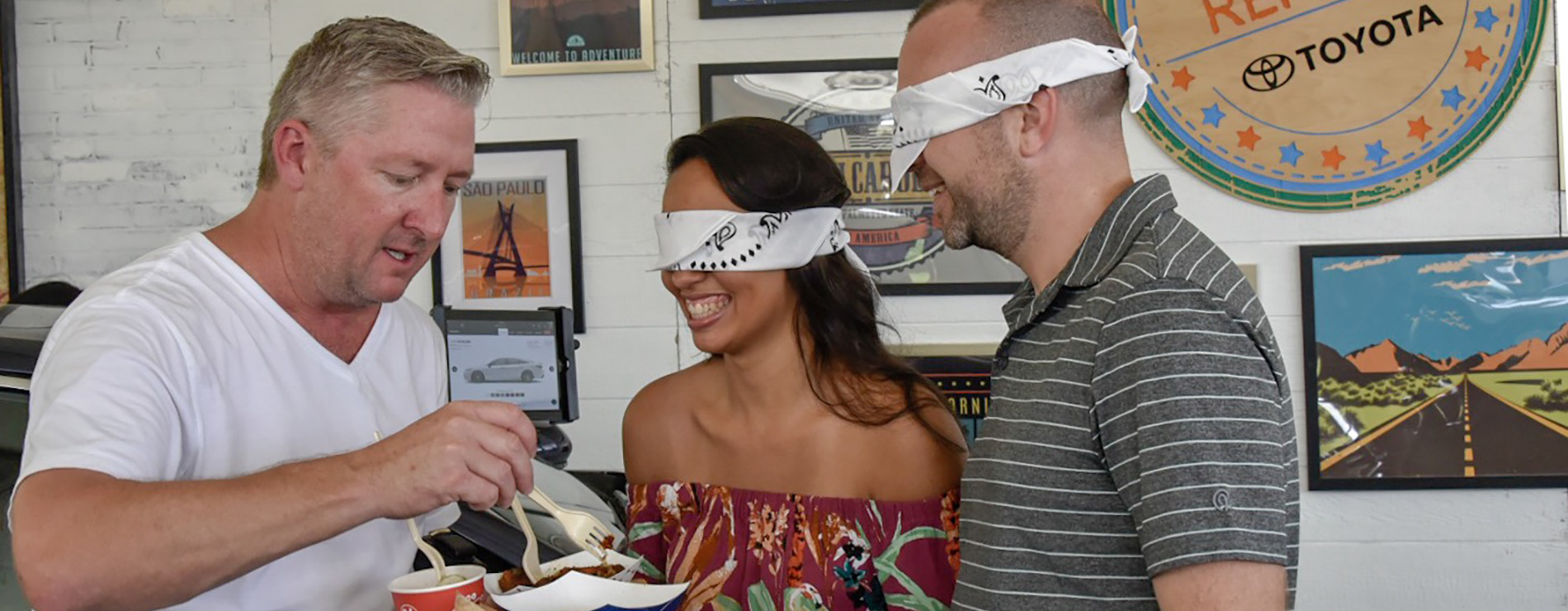 Avalon chef with food in a taste test with two blindfolded people.