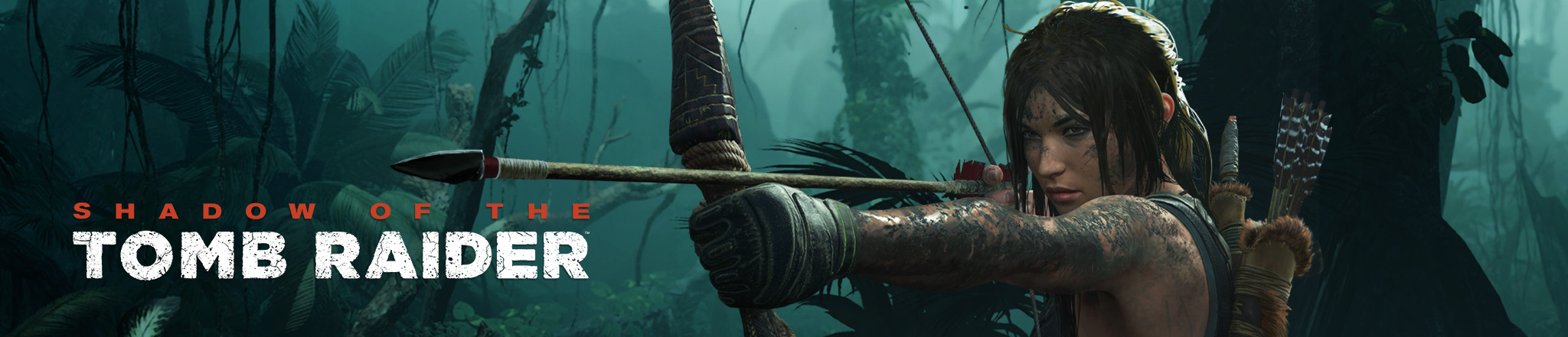 Shadow of The Tomb Raider: Lara pointing bow and arrow in jungle