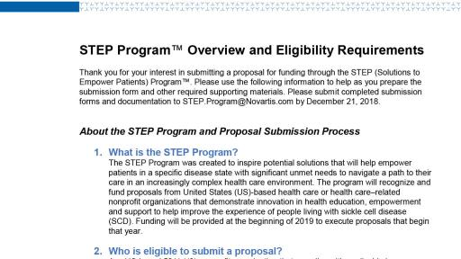 STEP Program 2018 Overview and Eligibility Requirements