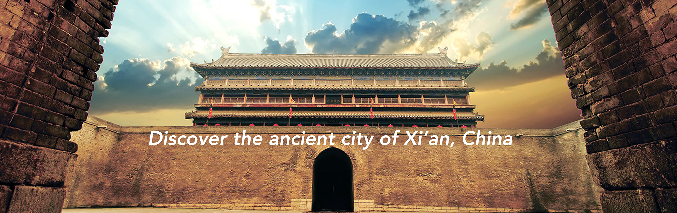 Discover the city of ancient Xi'an, China overlayed on an image of a temple