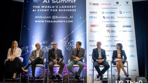 (Third from left) Mohammed Ansari, Senior Vice President and General Manager of the LG Silicon Valley Lab participates in panel discussion at the AI Summit in New York to talk about LG ThinQ