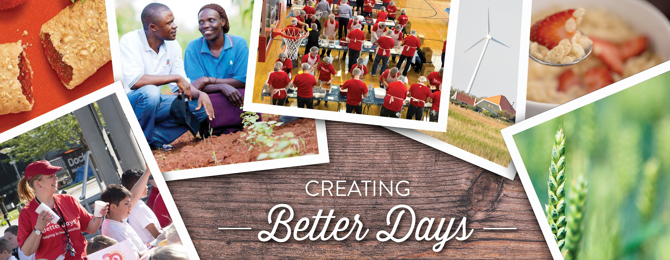 "Photos across a picnic table with overlaid caption, ""Creating Better Days."""