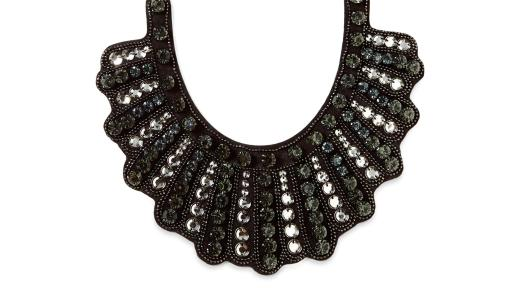 The Banana Republic Dissent Collar, a glass stone and brass jeweled black bib necklace with velvet tie, is available on bananarepublic.com